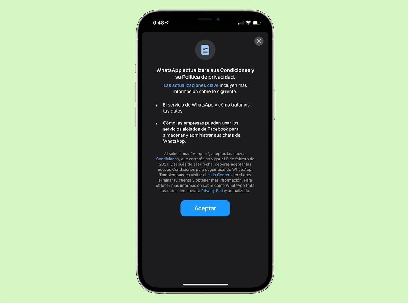 La Dirección Nacional de Protección de Datos Personales investiga a WhatsApp por su nueva política de privacidad